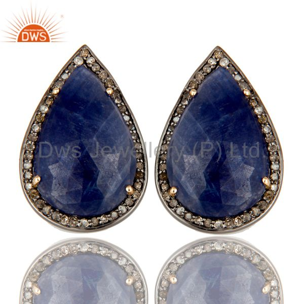 14K Solid Yellow Gold Pave Diamond And Blue Sapphire Pear Shape Stud Earrings