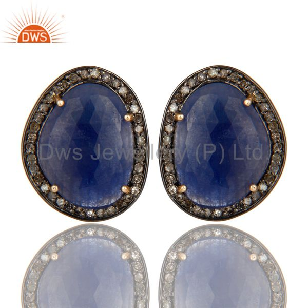 14K Yellow Gold Pave Set Diamond And Blue Sapphire Womens Stud Earrings