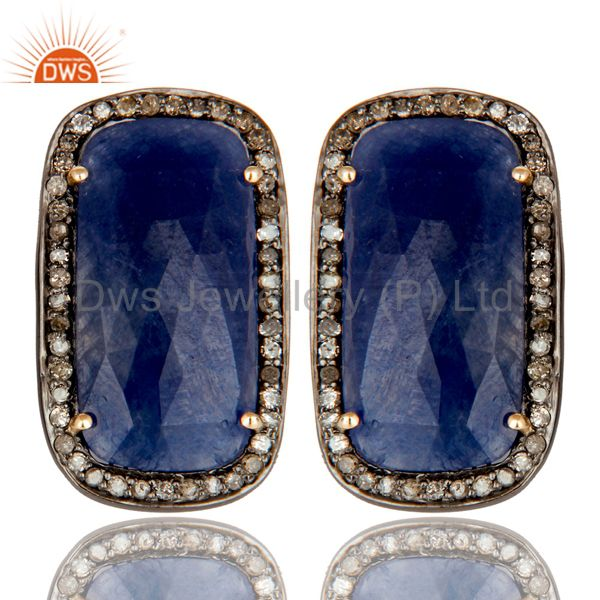 14K Solid Yellow Gold Pave Set Diamond And Blue Sapphire Womens Stud Earrings