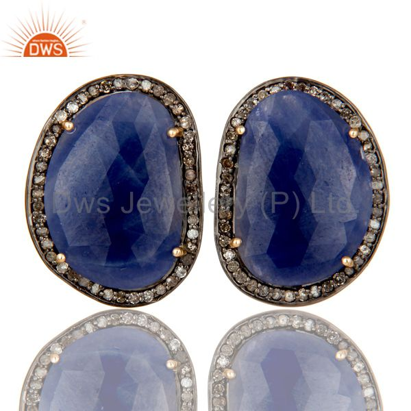 14K Solid Yellow Gold Blue Sapphire And Diamond Accent Stud Earrings