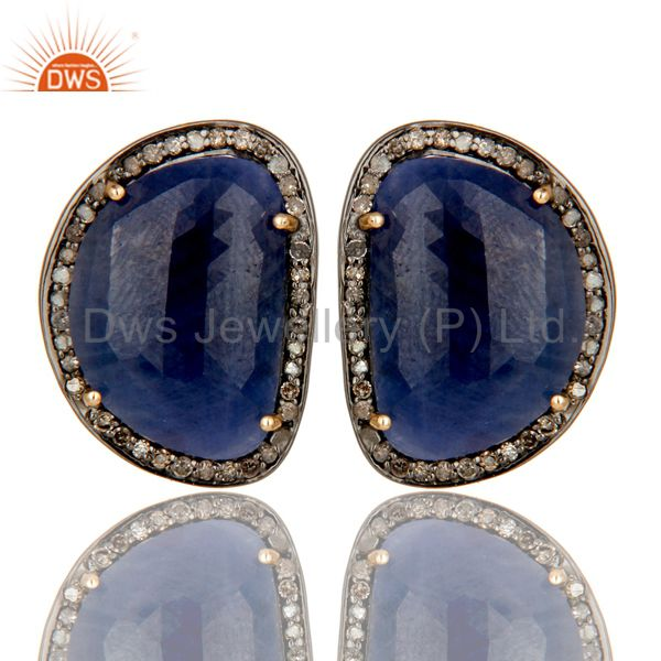 14K Solid Yellow Gold Pave Diamond And Blue Sapphire Womens Stud Earrings