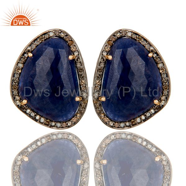 Solid 14K Yellow Gold Pave Diamond And Blue Sapphire Womens Stud Earrings