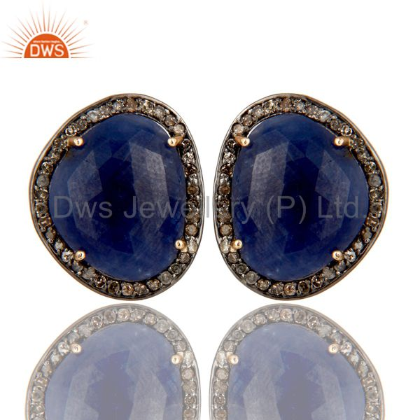 Solid 14K Yellow Gold Blue Sapphire Womens Stud Earrings With Pave Set Diamond
