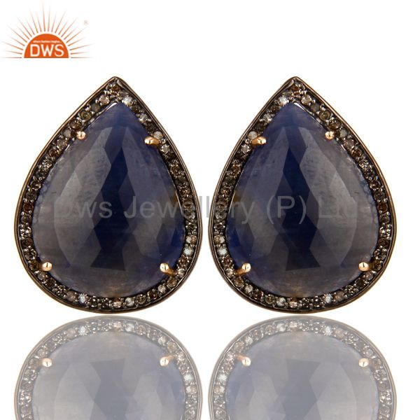 Pave Set Diamond And Blue Sapphire 14K Gold Sterling Silver Stud Earrings