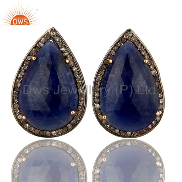 Pave Set Diamond And Blue Sapphire 14K Gold Sterling Silver Drop Stud Earrings