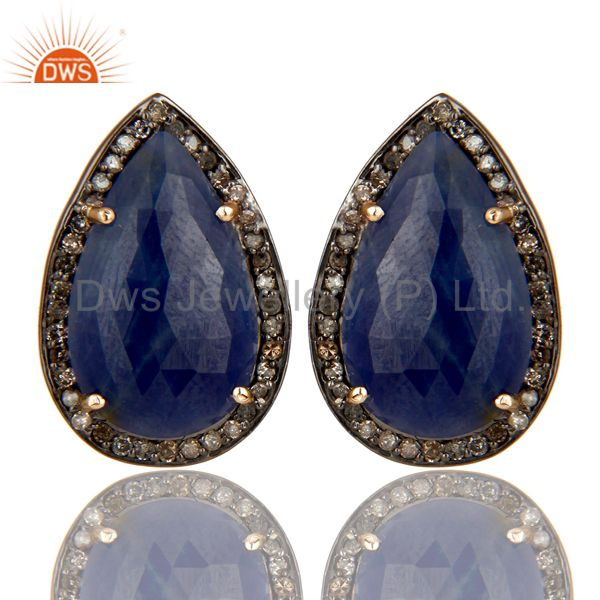 18K Yellow Gold Sterling Silver Blue Sapphire And Pave Diamond Drop Stud Earring