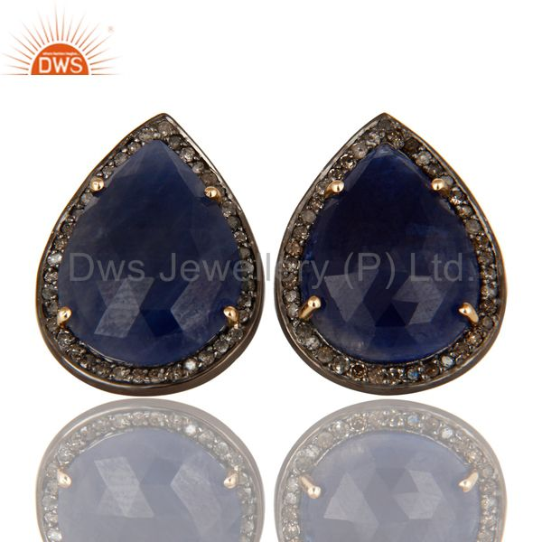 14K Yellow Gold Sterling Silver Blue Sapphire Stud Earrings With Pave Diamond