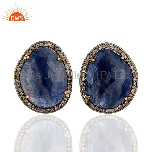 Diamond and Blue Sapphire Black Oxidized 925 Silver Stud Earring