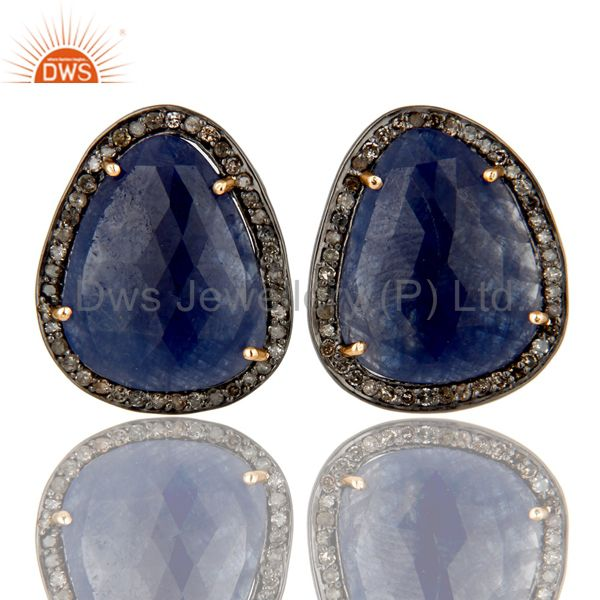 18K Gold 925 Sterling Silver Pave Diamond & Blue Sapphire Prong Setting Earrings