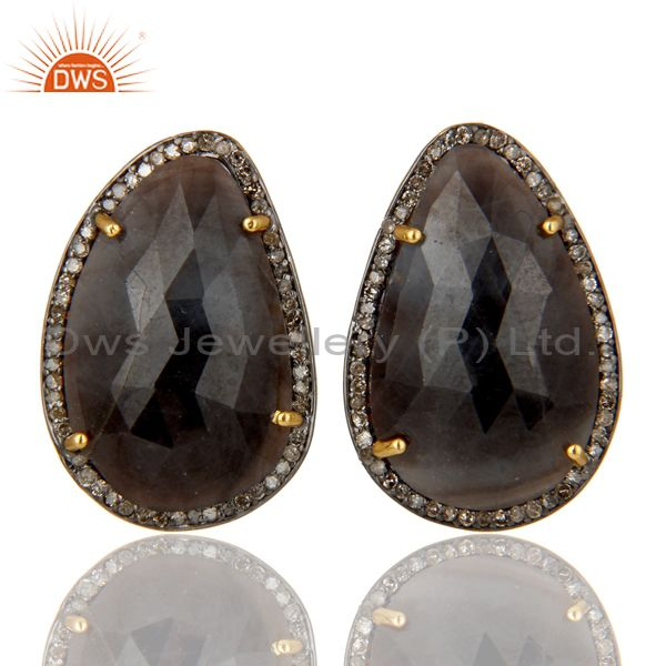 Solid 14K Yellow Gold Pave Set Diamond And Blue Sapphire Silver Stud Earrings
