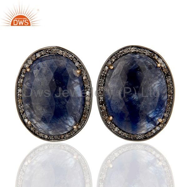 Black Oxidized Sterling SIlver Diamond and Blue Sapphire Stud Earring