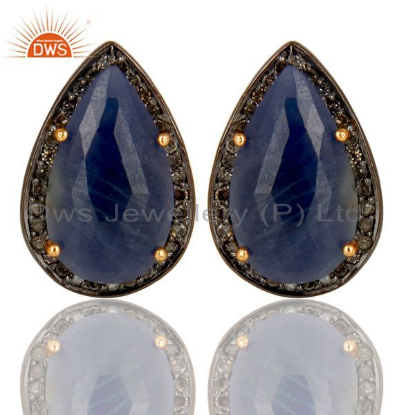 14K Solid Gold 925 Sterling Silver Diamond & Blue Sapphire Studs Earrings