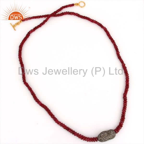 18K Gold Pave Diamond Natural Ruby Gemstone Beads Single Strand Necklace