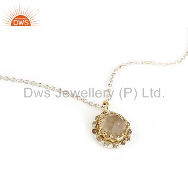 18K Yellow Gold And Sterling Silver Rutilated Quartz Pendant With Chain
