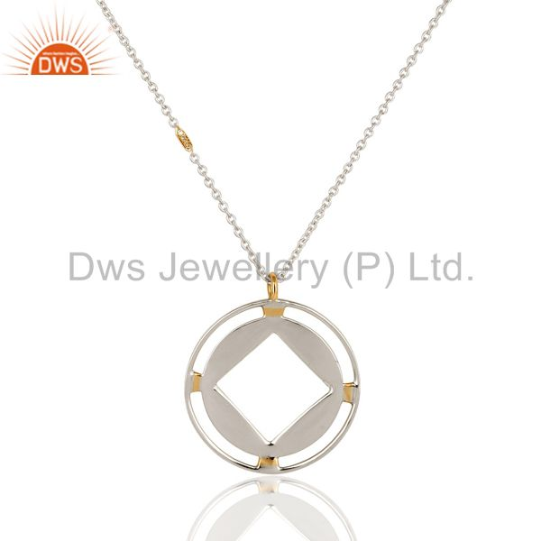 18K Yellow Gold And Sterling Silver Artisan Made Circle Pendant With Chain