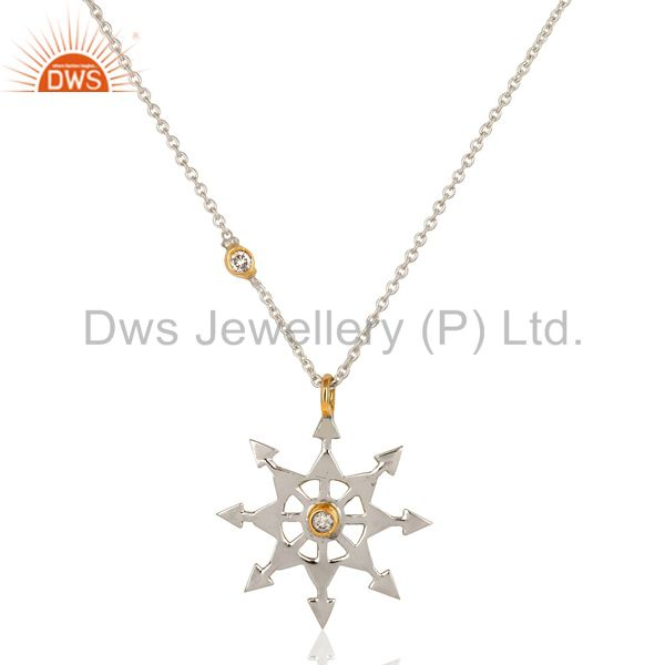 18K Yellow Gold And Sterling Silver Natural Diamond Star Pendant Necklace