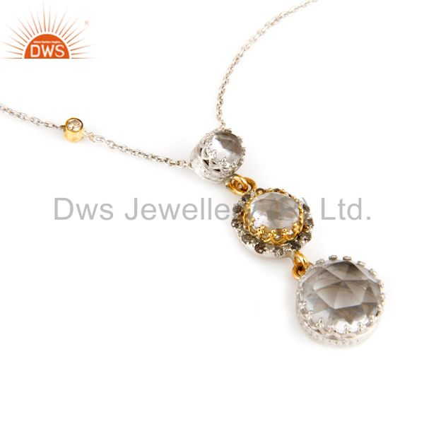 18K Yellow Gold And Sterling Silver Crystal Quartz And Diamonds Pendant Chain