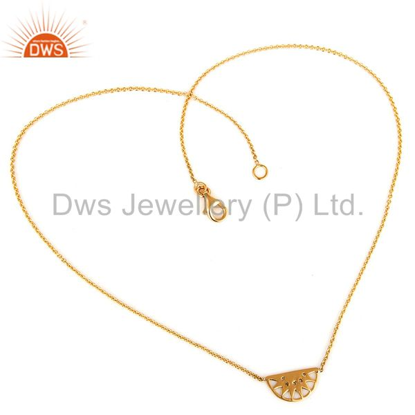 18K Yellow Gold Natural Diamond Half Moon Pendant Necklace With Lobster Lock