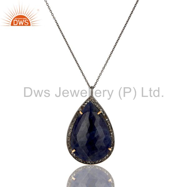 14K Solid Yellow Gold Pave Diamond And Blue Sapphire Drop Pendant With Chain
