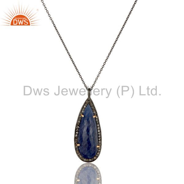 14K Solid Yellow Gold Blue Sapphire And Diamond Accented Drop Pendant With Chain