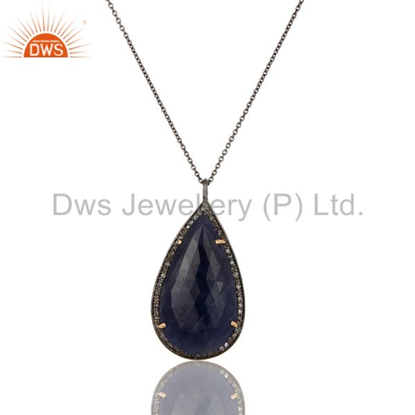 14K Solid Yellow Gold Blue Sapphire And Diamond Accented Pendant With Chain