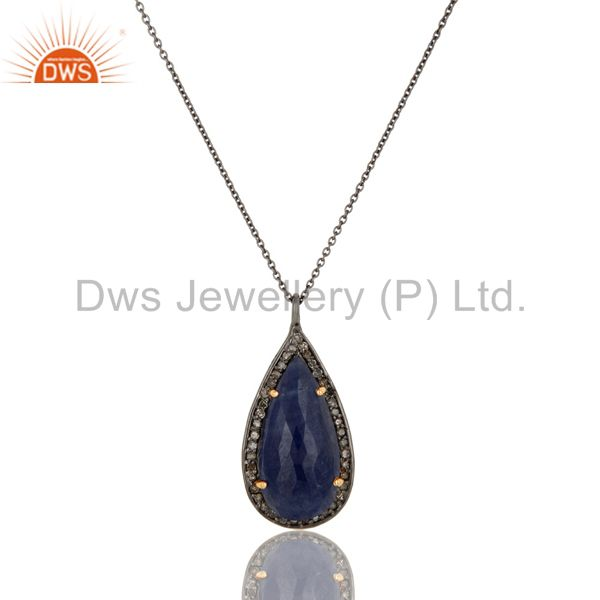 Genuine 14k Yellow Gold Blue Sapphire And Pave Diamond Pendant Necklace
