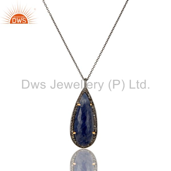 Solid 14k Yellow Gold Blue Sapphire And Pave Diamond Pendant Necklace