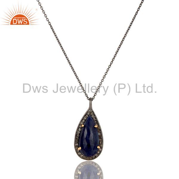 Blue Sapphire And Pave Set Diamond 14K Solid Yellow Gold Pendant Necklace