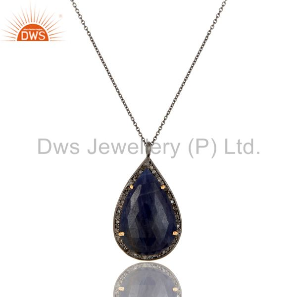 14K Solid Yellow Gold Pave Diamond And Blue Sapphire Teardrop Pendant Necklace