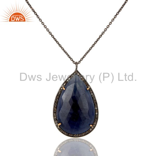 14K Yellow Gold Pave Diamond And Blue Sapphire Silver Pendant