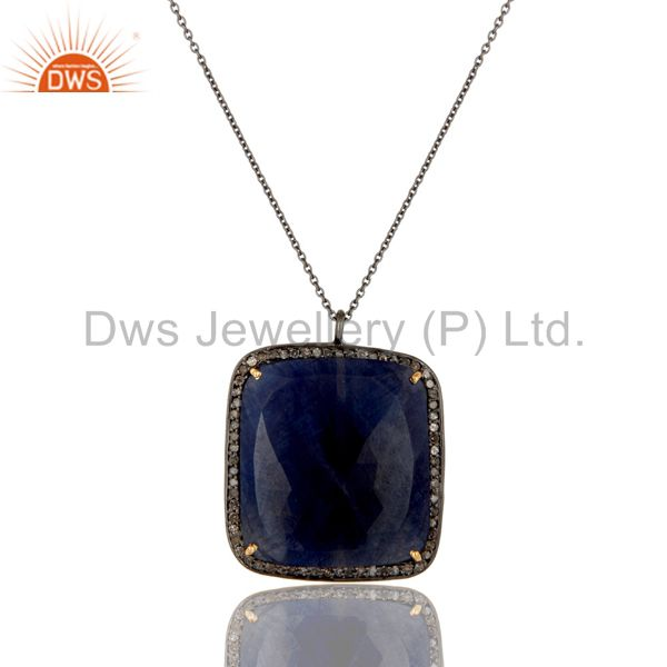 14K Yellow Gold Pave Diamond And Blue Sapphire Silver Pendant Necklace