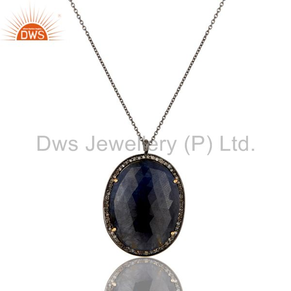 14K Yellow Gold Pave Diamond And Blue Sapphire Sterling Silver Pendant Necklace