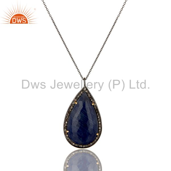 14K Yellow Gold Pave Set Diamond Blue Sapphire Sterling Silver Pendant Necklace
