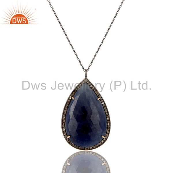 14K Yellow Gold Blue Sapphire Sterling Silver Pave Set Diamond Pendant Necklace