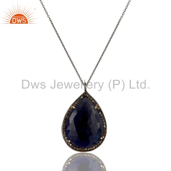 14K Yellow Gold Sterling Silver Blue Sapphire Pave Set Diamond Pendant Necklace