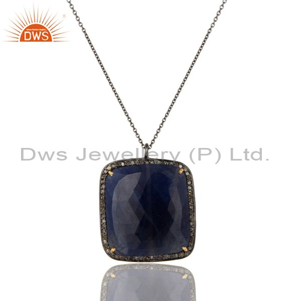 Faceted Blue Sapphire And Pave Diamond 14K Yellow Gold Silver Pendant Necklace