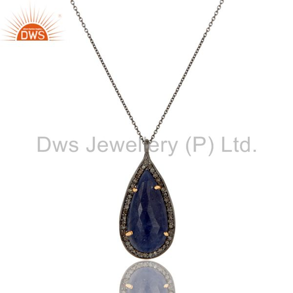 14K Solid Yellow Gold Silver Blue Sapphire And Pave Diamond Pendant Necklace