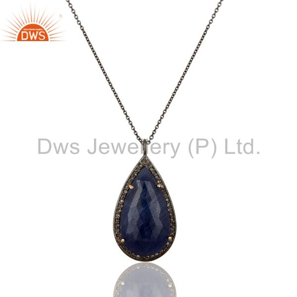 14K Solid Yellow Gold Pave Diamond And Blue Sapphire Silver Pendant With Chain