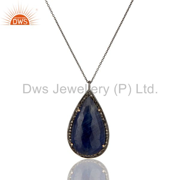 Solid 14K Yellow Gold Pave Diamond And Blue Sapphire Drop Pendant With Chain