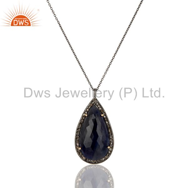 14K Yellow Gold Pave Diamond And Blue Sapphire Drop Pendant With Chain