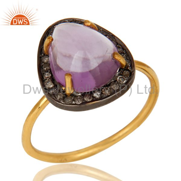 Natural Amethyst And Pave Diamond 14K Yellow Gold Stacking Ring