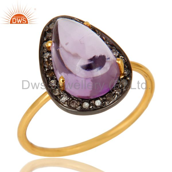 Natural Amethyst And Pave Set Diamond 14K Solid Yellow Gold Statement Ring