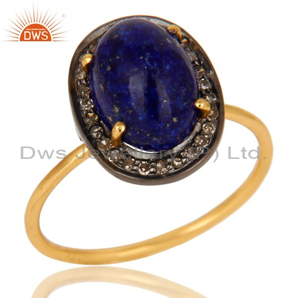 14K Solid Yellow Gold Pave Set Diamond And Lapis Lazuli Gemstone Stackable Ring