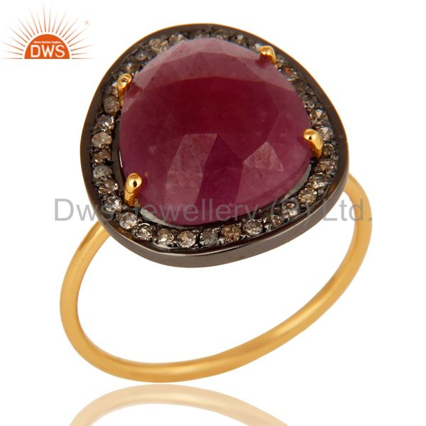 14K Yellow Gold Pave Diamond And Natural Ruby Gemstone Stacking Ring