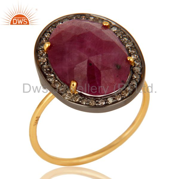 Natural Ruby Gemstone Pave Set Diamond 14K Yellow Gold Stackable Ring