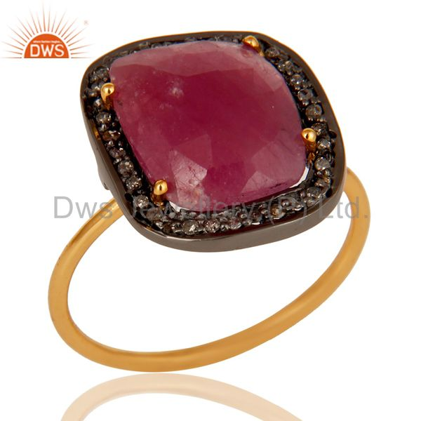 Pave Diamond and Natural Ruby Black and Yellow Gold Plated Sterling Silver Ring