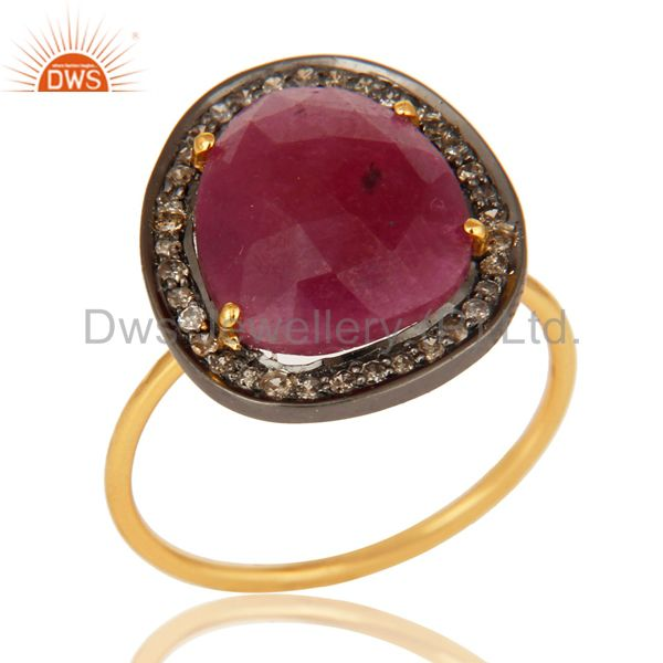Ruby Pave Diamond 14K Yellow Gold And Sterling Silver Stack Ring