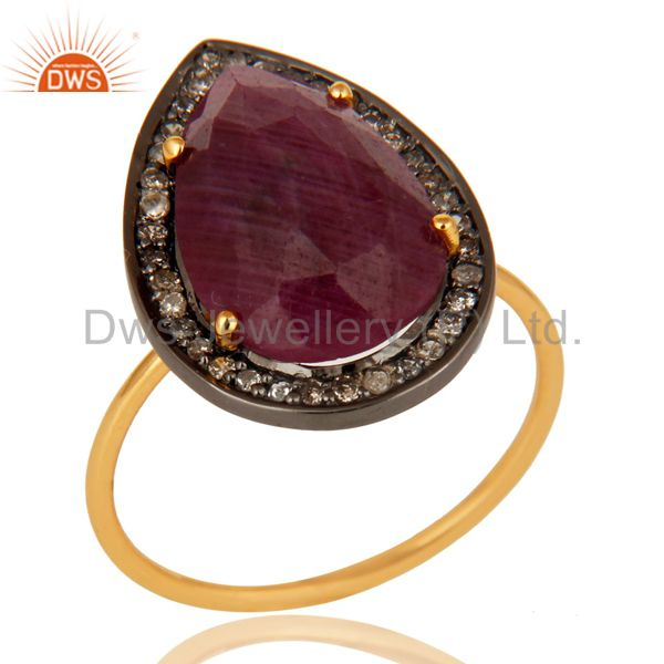 Natural Ruby Gemstone And Pave Diamond 14K Yellow Gold Stackable Ring
