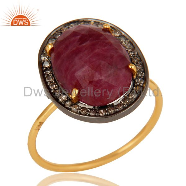 Natural Ruby Gemstone And Pave Diamond Stackable Ring In 14K Yellow Gold