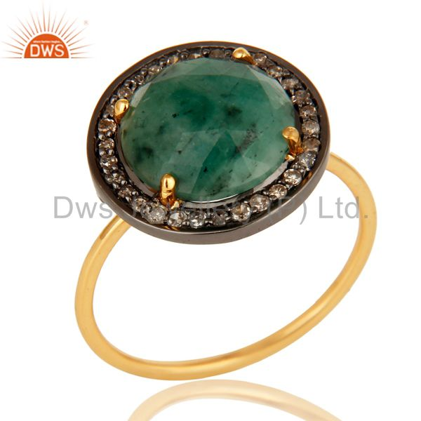 14k Yellow Gold Pave-set Diamond Emerald Stacking Engagement or Cocktail Ring